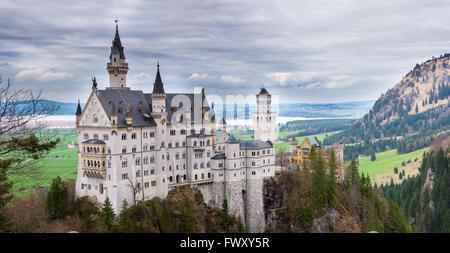 Neuschwanstein castle in Bavaria Germany - Stock Photo