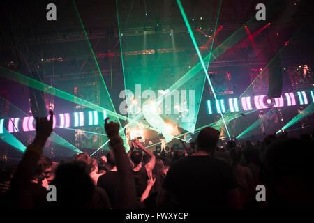 Finland, Uusimaa, Helsinki, Cheering audience at Summer Sound Festival - Stock Photo