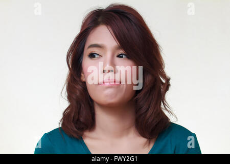 Closeup portrait beautiful young woman of angry - Stock Photo