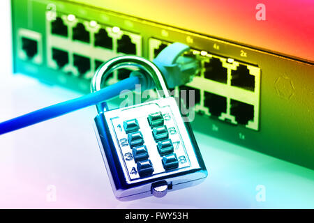 network and data protection concept with padlock and switch - Stock Photo