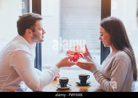 man and woman, gift, romantic dating - Stock Photo