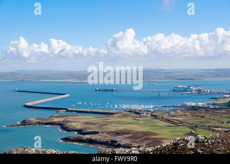 View from Holyhead Mountain to Holyhead port protected by longest breakwater in UK at 1.7 miles. Holy Island Anglesey - Stock Photo