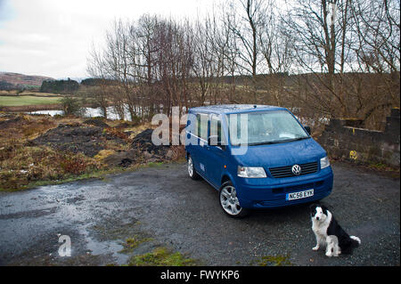 T5, transporter, vanlife, adventure, automobile, blue,  britain, bus, scotland, dog, collie, k9, vw, combi, holiday,wild - Stock Photo