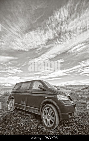 T5, transporter, vanlife, new age, adventure, automobile, automotive, blue,  britain, bus, scotland, vw, loch tay, - Stock Photo
