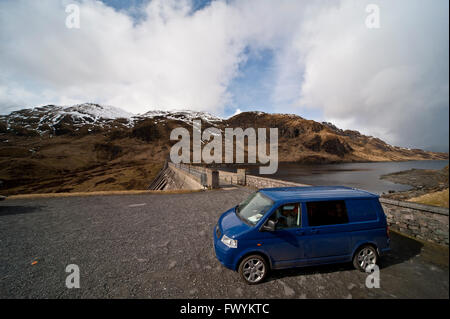 T5, transporter, vanlife, new age, adventure, blue, vw, britain, bus, scotland, highlands, - Stock Photo