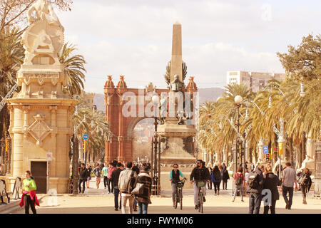 Rius i Taulet monument , Arc de Triomf is one of the main afor the World Exhibition in 1888 by Josep Vilaseca i - Stock Photo