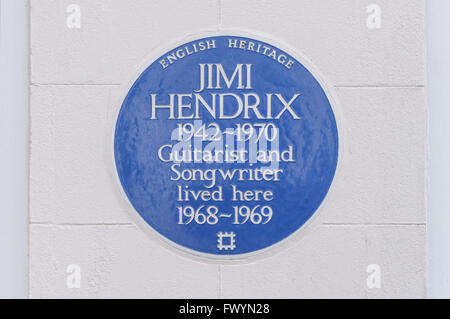 Blue Plaque of Jimi Hendrix on Brook Street in Mayfair, London England United Kingdom UK - Stock Photo