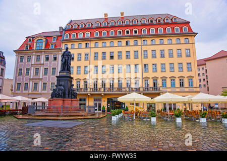 Neumarkt in Dresden in Germany. It is new market square in the city center of Dresden. - Stock Photo
