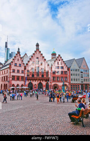 FRANKFURT, GERMANY - APRIL 29, 2012: Romer City Hall in Frankfurt in Germany. The Romerberg consists of old houses. - Stock Photo