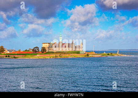 The Renaissance castle Kronborg in Helsingør seen from a boat crossing Øresund. - Stock Photo