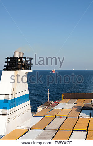 Freight on board of Finnlady cargo ship - Stock Photo