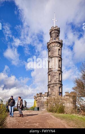 The Nelson Monument on Calton Hill, Edinburgh, Scotland. - Stock Photo