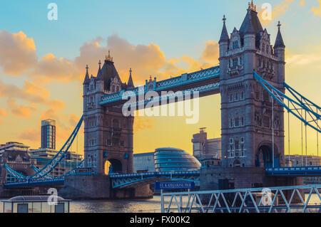 Sunset at Tower Bridge and St. Katharine Pier  in London, United Kingdom - Stock Photo