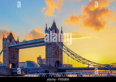Sunset at Tower Bridge and St. Katharine Pier  in London, United Kingdom - Stock Photo