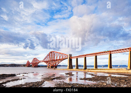 Forth Rail Bridge, Queensferry, Edinburgh, East Lothian, Scotland, UK, one of the most famous bridges in the world - Stock Photo