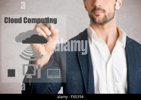 Man drawing cloud computer concept on glass, isolated in grey - Stock Photo