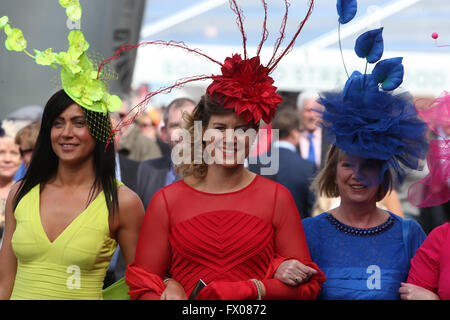 Aintree, Liverpool, UK. 09th Apr, 2016. Crabbies Grand National Festival Day 3. Ladies in yellow, red and blue on - Stock Photo