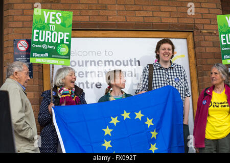 Bournemouth, UK 9 April 2016. Man with YES to Europe placards by the Green Party  stood outside BIC (Bournemouth - Stock Photo