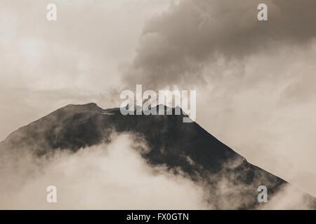 Tungurahua Volcano One Of The Most Active Volcanoes From South America Seen From Banos De Agua Santa, February 2016 - Stock Photo