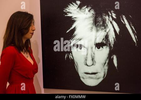 London, UK. 8 April 2016. Self-Portrait (Fright Wig), 1986, by Andy Warhol, estimate: USD 7-10 million. Sotheby's - Stock Photo