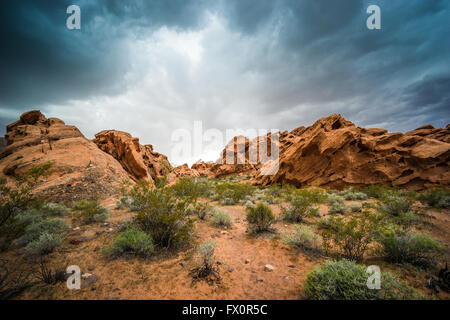 Formations of orange and red sandstone in the Nevada high desert near Lake Mead and Valley of Fire State Park. - Stock Photo