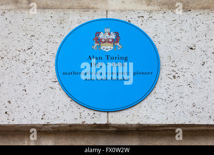 CAMBRIDGE, UK - APRIL 8TH 2016: A blue plaque at Kings College in Cambridge commemorating former student and computer - Stock Photo