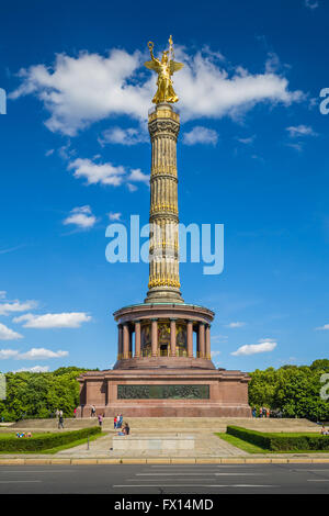 Famous Berlin Victory Column at Great Star square in Tiergarten public park, Berlin Mitte district, Germany. - Stock Photo