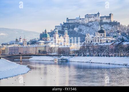 Historic city of Salzburg with Salzach river in winter, Salzburger Land, Austria - Stock Photo