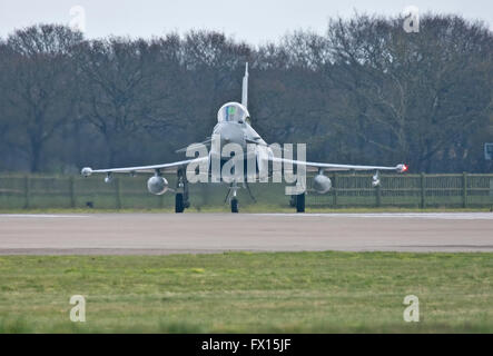 Eurofighter Typhoon of the RAF prepares for take off. jet fighter defence air power aircraft aviation flying military - Stock Photo