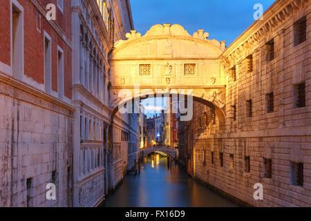 Bridge of Sighs or Ponte dei Sospiri in Venice - Stock Photo