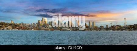 Seattle Washington city skyline along Lake Union at Sunset Panorama - Stock Photo