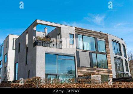 Modern residential house seen in Berlin, Germany - Stock Photo