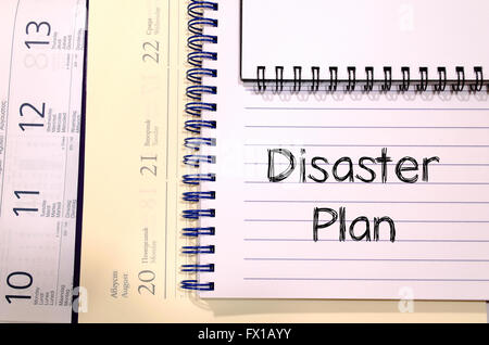 Disaster plan text concept write on notebook - Stock Photo