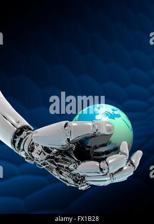 Robotic hand holding planet earth, illustration. - Stock Photo