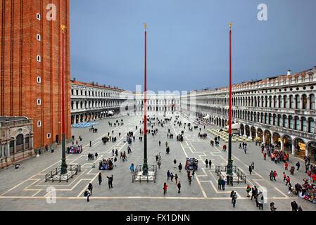 View of the Piazza di San Marco (St Mark's square) from the Loggia Dei Cavalli, of the Basilica di San Marco, Venice, - Stock Photo