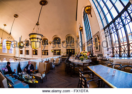 Massive arched windows, The Cooper Lounge on the mezzanine of the newly renovated Union Station in Downtown Denver, - Stock Photo