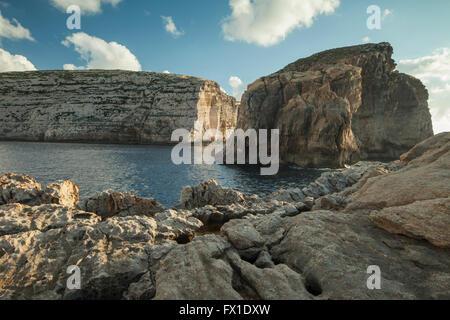 Dwejra Bay on the coast of Gozo near San Lawrenz, Malta. - Stock Photo