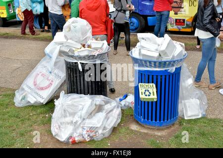 Trash cans overflowing at the National Mall in Washington DC - Stock Photo