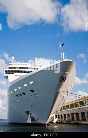 Vertical view of a cruise ship docked in Havana, Cuba. - Stock Photo