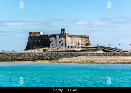 Castillo de San Gabriel - Saint Gabriel Castle in Arrecife and cannons in front of it, Lanzarote island, Spain - Stock Photo