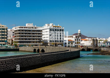 View of two bridges leading to Saint Gabriel castle (Castillo de San Gabriel) in Arrecife, Lanzarote island, Spain - Stock Photo