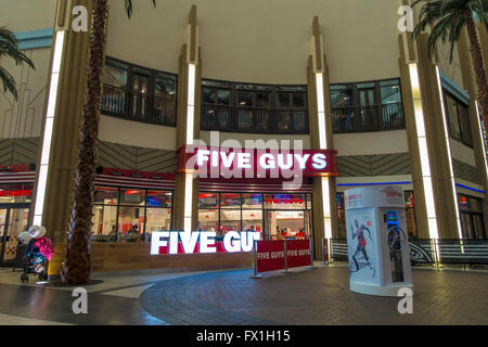 Five Guys Burger Restaurant O2 Arena Greenwich London England - Stock Photo