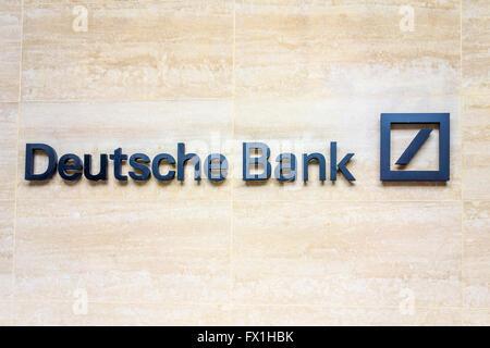Deutsche Bank sign, London, UK - Stock Photo