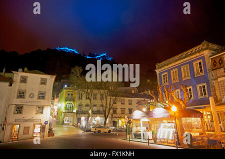 praca da republica at night - Sintra Portugal - Stock Photo
