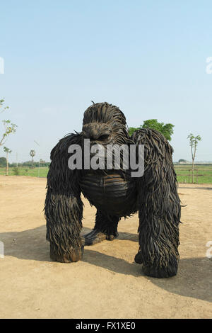Gorilla statue made from old car wheels from an artist in Thailand - Thailand - Stock Photo