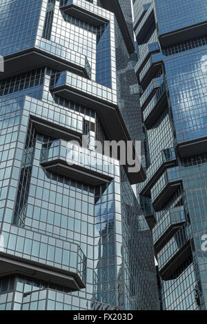 Close-up of Lippo Centre skyscrapers in Hong Kong, China. - Stock Photo