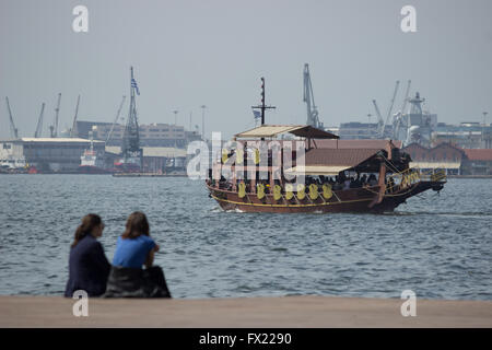 Wooden vintage galleon 'Argo' cruise bar caffe, sailing with passengers in Thermaic gulf. Thessaloniki harbour in - Stock Photo
