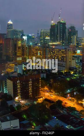 Residential districts of Bangkok at night - Stock Photo