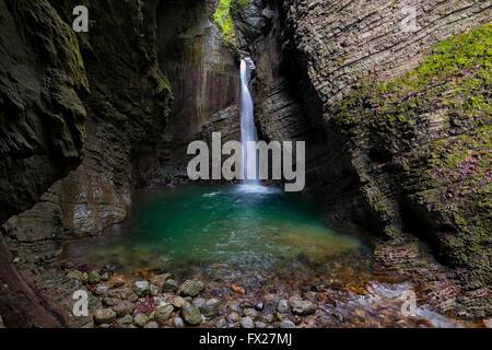 Kozjak Waterfall at Dreznica, Slovenia - Stock Photo