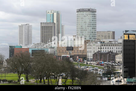 A view of the Birmingham City Centre skyline from the roof of Millennium Point in Birmingham's Eastside. - Stock Photo